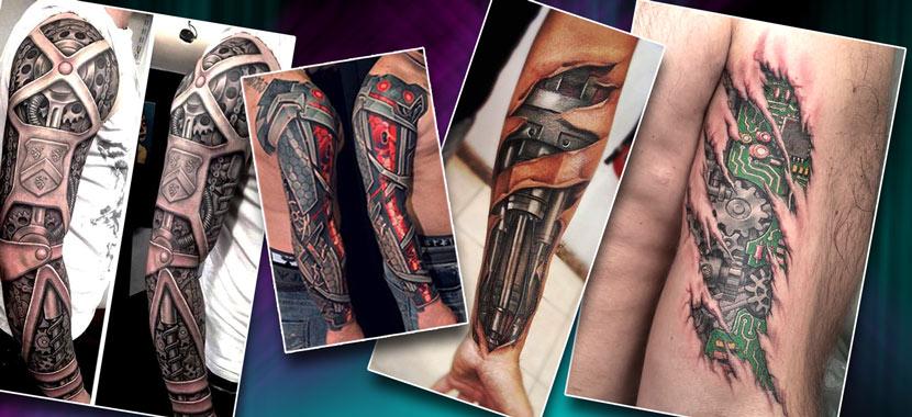 Популярные тату на руке в стиле биомеханика