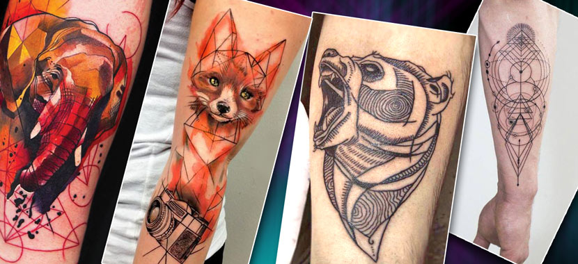 Стильные тату на руке в стиле лайнворк