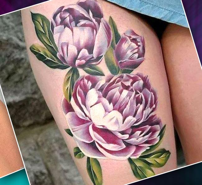 Цветная татуировка на бедре цветы