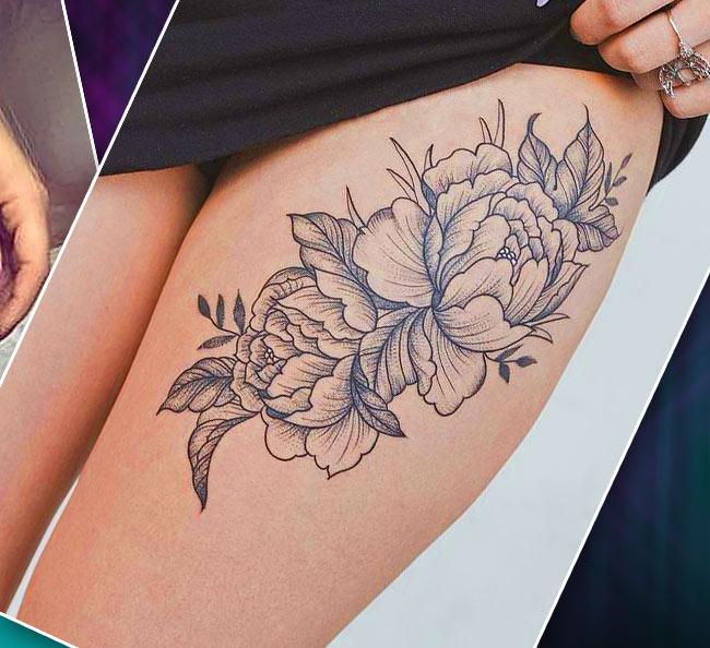 Черно-белая татуировка на бедре цветы