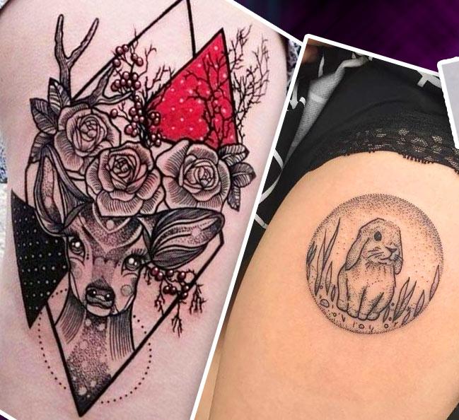 Татуировка на бедре животные