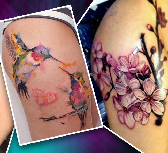 Татуировка на бедре цветы и птицы
