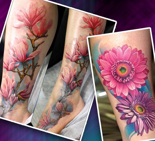 Татуировка на голени реалистичные цветы