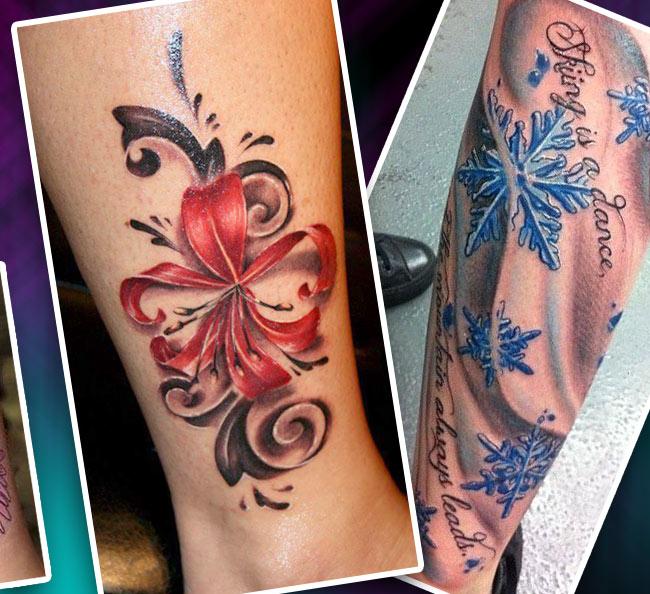 Татуировка на голени реалистичные цветы и снежинки