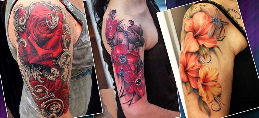 Женская татуировка на руке с цветами