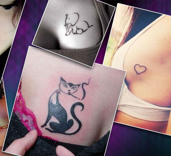 Женские варианты тату на груди в простом стиле