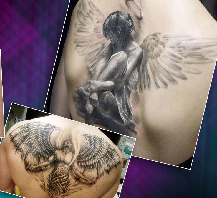 Татуировки на спине с ангелами