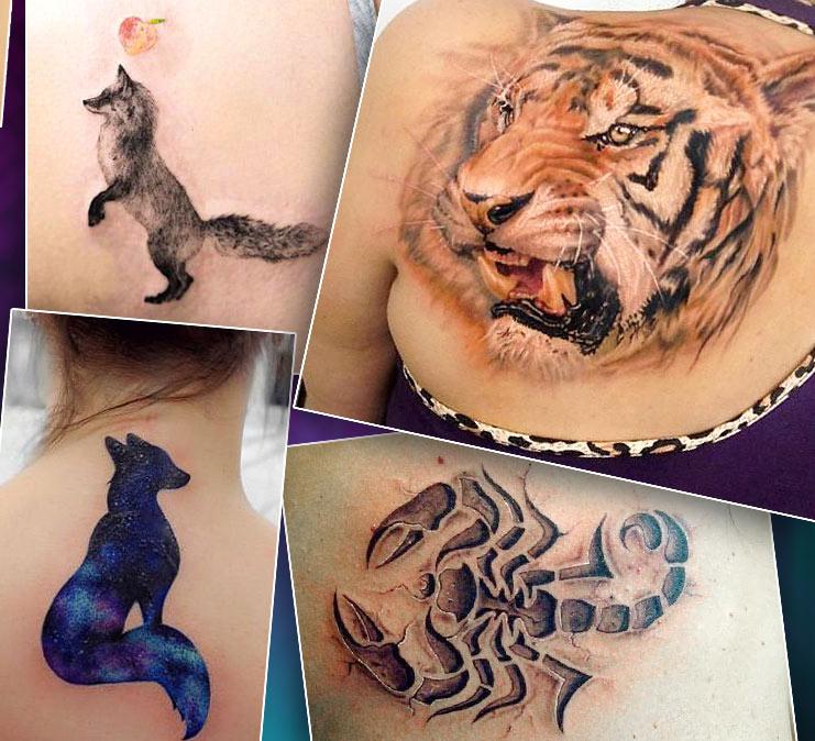 татуировки на спине в стиле анимализм