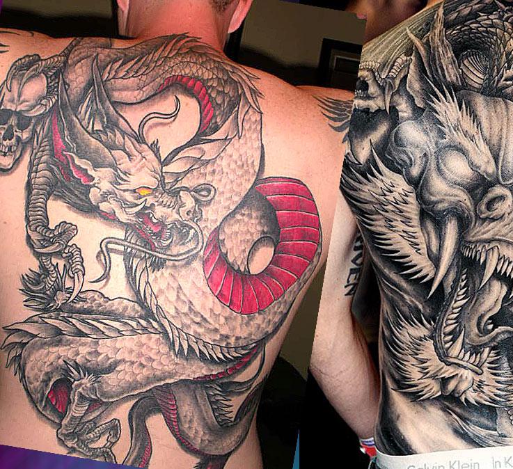 Мужские тату на спине с драконами
