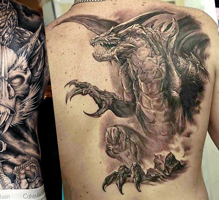 Мужские  татуировки на спине с драконами