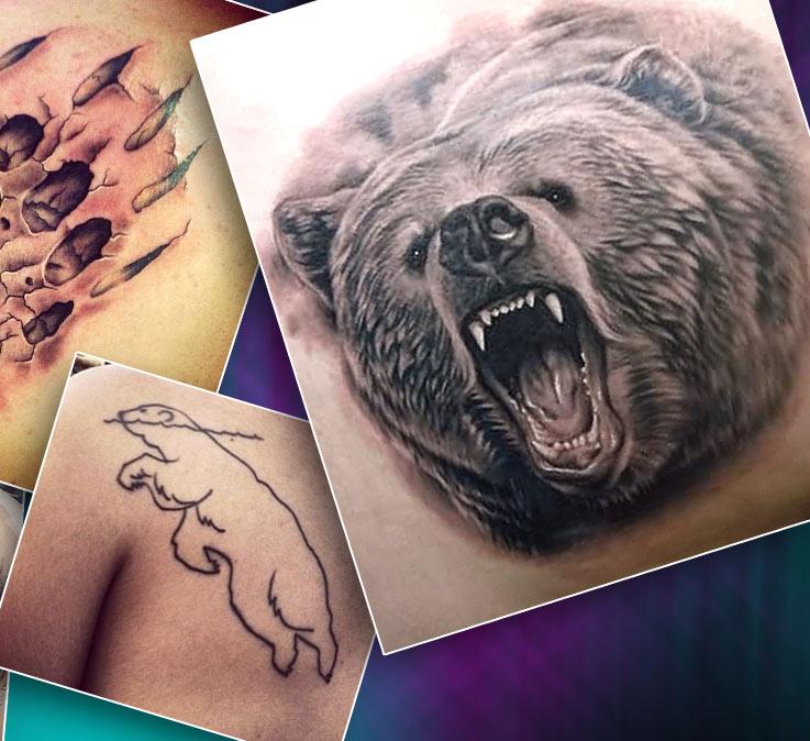 Тату мужские на спине с изображением медведя