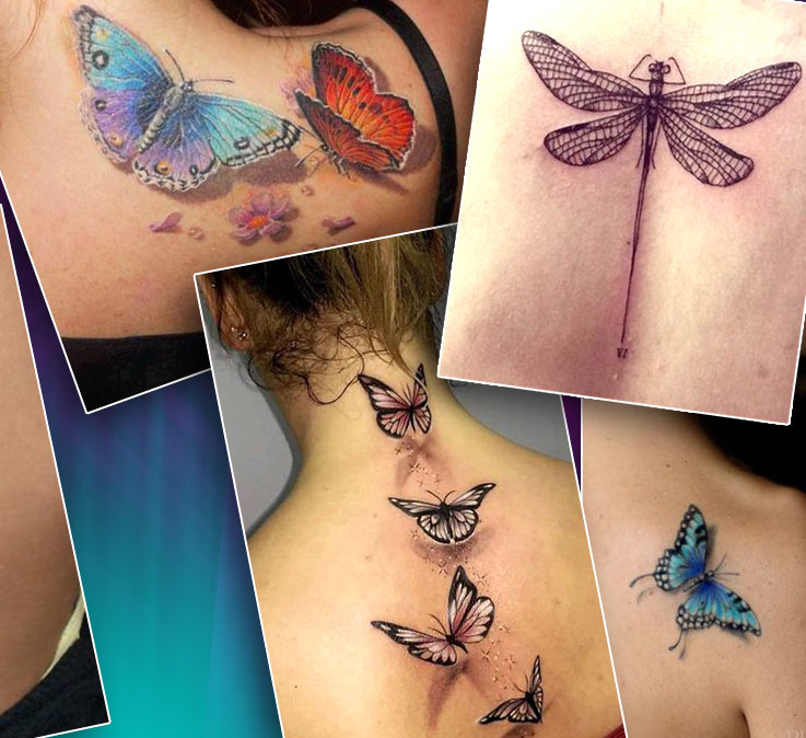 Татуировки на спине стрекозы, бабочки, божья коровка