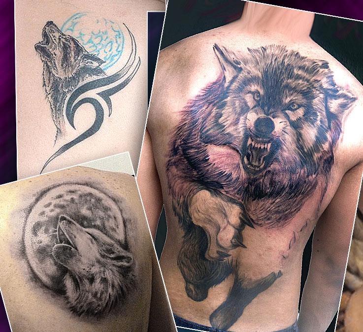 Тату на спине с изображением волков
