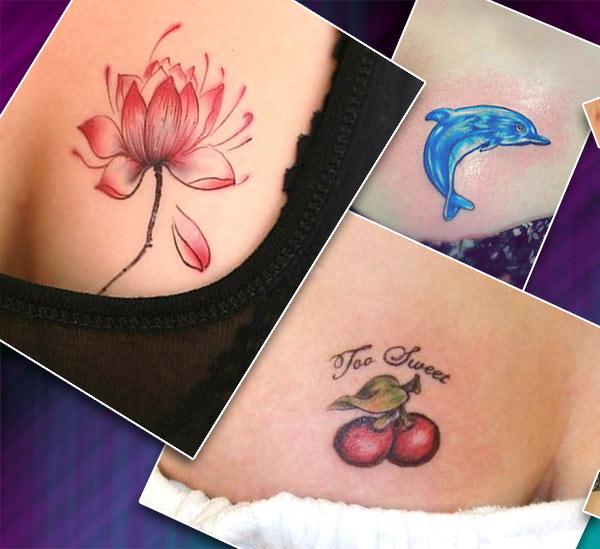 Тату для девушек на груди, дельфин, цветок, вишни