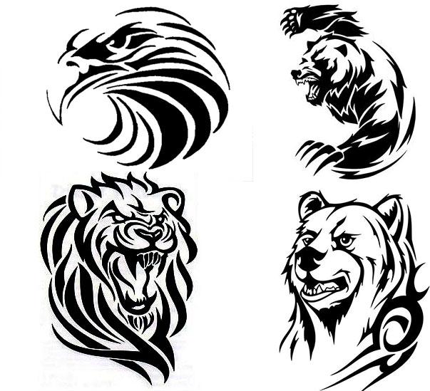 4 эскиза тату животных