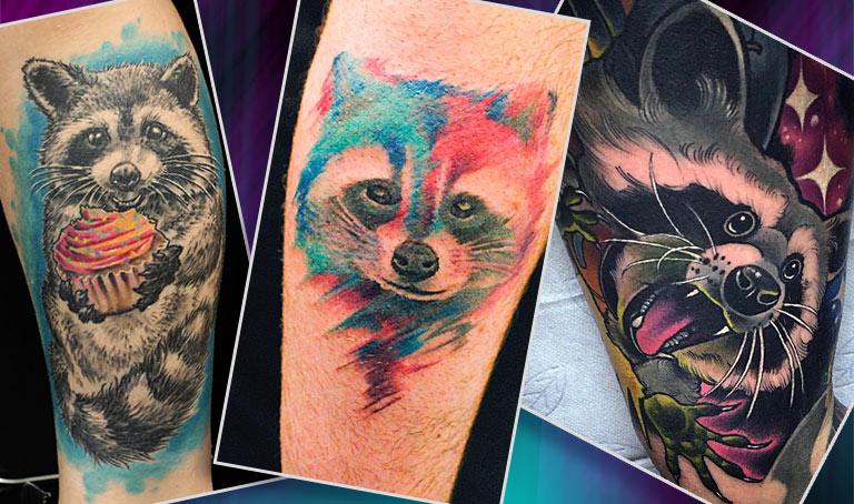 Полноцветные татуировки с енотом