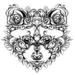 Черно-белый эскиз тату енота