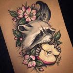 Цветной эскиз татуировки енота