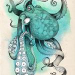 Эскиз тату осьминога