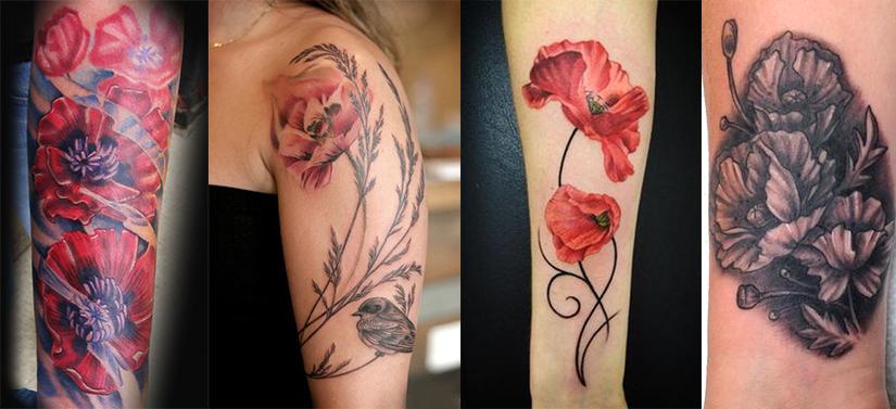 татуировка маки на руке и плече