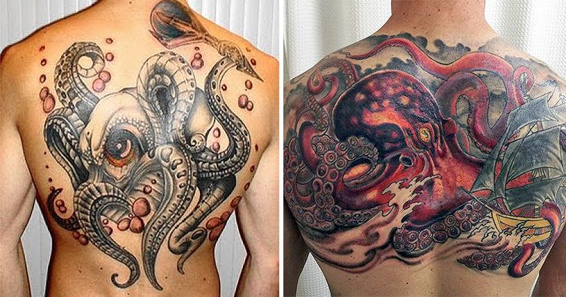 Большая тату с изображением осьминога на всю спину