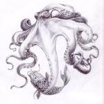 эскиз татуировки осьминог с рыбой