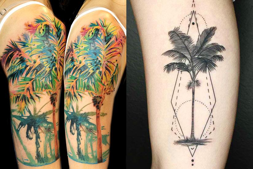Женская татуировка пальмы с финиками