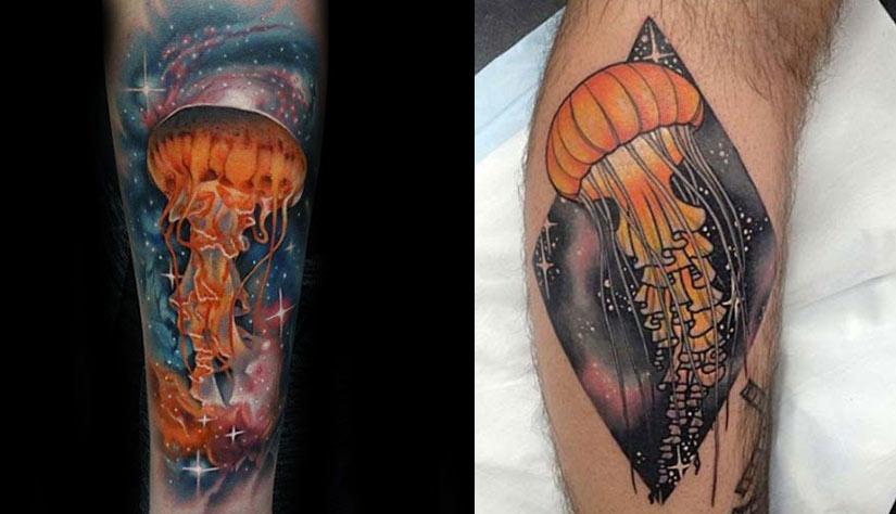 Татуировка медузы в космических мотивах