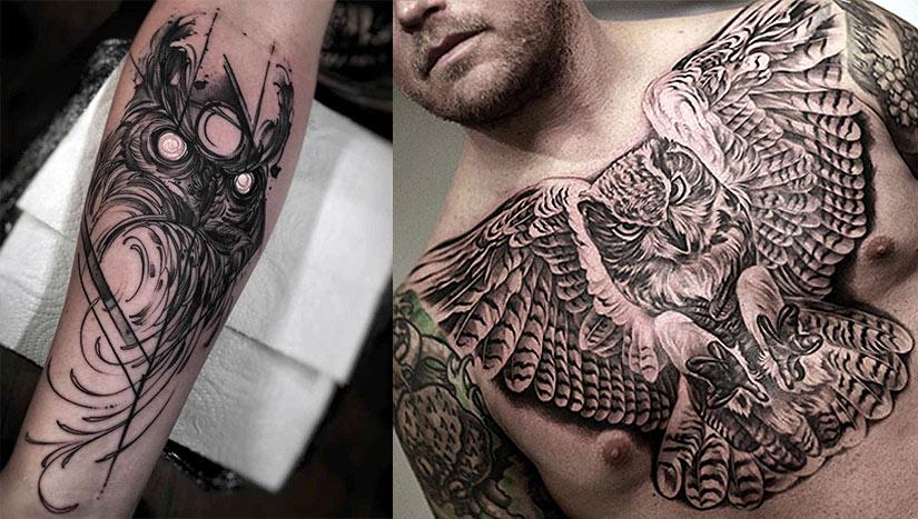 Черно белый вариант татуировки с совой