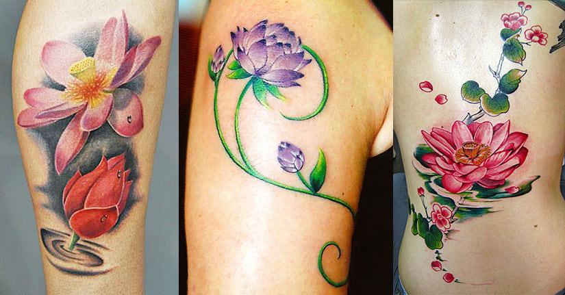 Цветные татуировки с лотосом