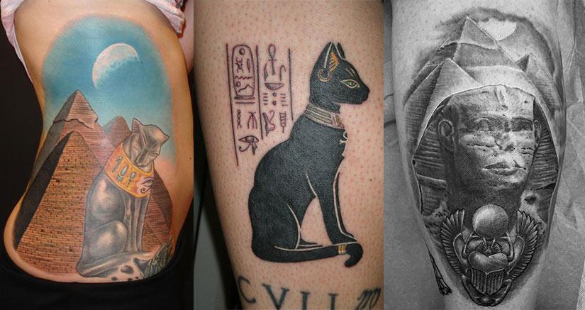 Египетские тату пирамиды, статуэтки сфинкса и египетской кошки