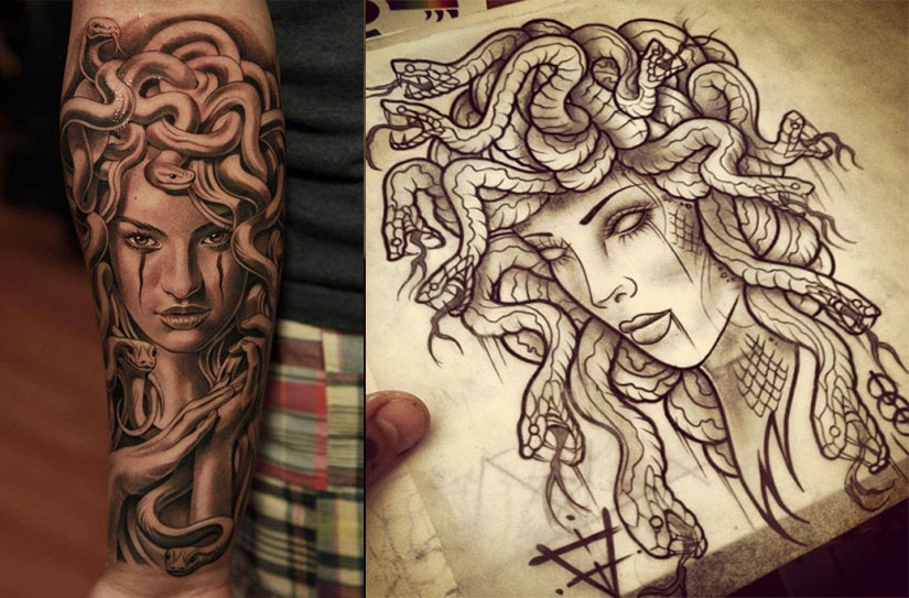 Эскиз и татуировка медузы горгоны