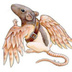 Эскиз тату крысы с крыльями