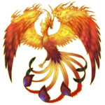 Эскиз тату феникса для девушки