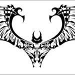 Эскиз татуировки с летучей мышью