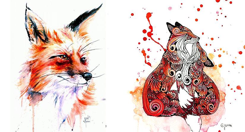 Красивые эскизы тату лисы для девушек