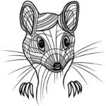 Эскиз тату мышь лайнворк