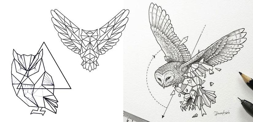 Эскизы тату с совой в стиле геометрия