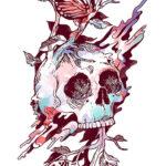 Эскиз тату смерть, птица на черепе
