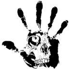 Эскиз тату смерть в отпечатке руки