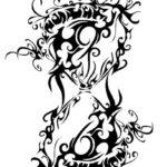 Эскиз тату смерть, часы означающие смерть
