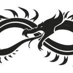Эскиз тату бесконечности, дракон