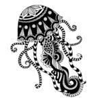 черно белый тату эскиз медузы, трайбл