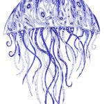 Эскиз тату медузы в синих тонах