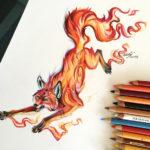 Эскиз тату, огненная лиса