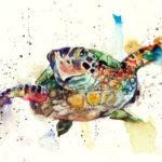Эскиз тату черепахи с пузырьками в цвете