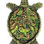 Эскиз тату черепахи с рисунком