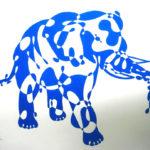 Эскиз голубого абстрактного слона