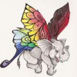 Эскиз слоненка с крыльями от бабочки
