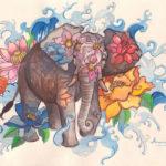 Красивый эскиз слона в цветах